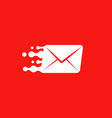 white post envelope logo concept on red vector image vector image