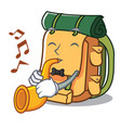 with trumpet backpack mascot cartoon style vector image
