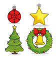 christmas holiday decoration set vector image