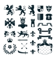 Heraldic Symbols Emblems Collection Black vector image