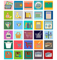 Icons with flat design elements of financial vector image