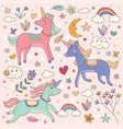 cute dreamy unicorns and rainbow vector image