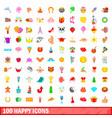 100 happy icons set cartoon style vector image vector image