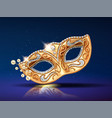 beads near golden mask for festival carnival vector image vector image