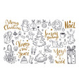 big set of christmas design doodle elements 6 vector image vector image