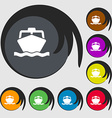 boat icon sign Symbol on eight colored buttons vector image vector image