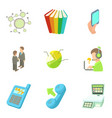 business place icons set cartoon style vector image vector image