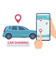 car sharing rent car online mobile app web page vector image vector image