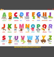 cartoon alphabet set with happy animal characters vector image vector image