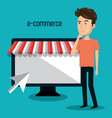 cartoon man store e-commerce isolated design vector image vector image