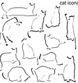 Cat icons set vector image vector image