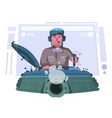 character playing game on a panzer desk cartoon vector image vector image