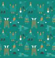 christmas winter people cartoon seamless pattern vector image