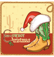 cowboy christmas card with american boots vector image vector image