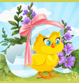 cute bachick just hatched from an easter egg vector image vector image