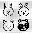 cute cartoon doodle bafaces a hare squirrel vector image