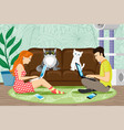 cute cats sitting on couch and people vector image