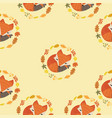 cute fox with leaves decoration circle seamless vector image vector image