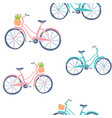 cute hand drawn bicycles seamless pattern vector image