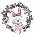 cute little rabbit with floral decoration frame vector image vector image