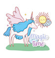 cute unicorn with wings and sun with clouds vector image