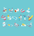 dentistry isometric elements set vector image vector image