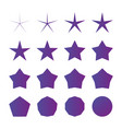 different radius five point star set isolated on vector image