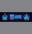 dry cleaning neon logo collection laundry vector image
