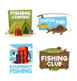 fisher camping club adventure icons vector image vector image