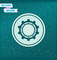 gear cog icon on a green background with arrows vector image vector image