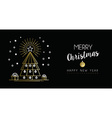 Gold Christmas New Year outline pine tree banner vector image vector image