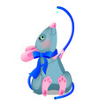 gray animated mouse drinks water from a blue hose vector image vector image