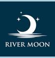 half moon set rise sea ocean surface water logo vector image