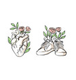 human heart hand drawn sneakers with vector image