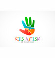 kids autism hand logo vector image vector image