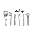 make up brushes for cosmetics with lettering make vector image