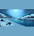night winter nature landscape houses on frozen vector image