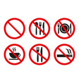 no food and no smoking signs on white background vector image vector image