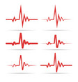 red heart rhythm symbols vector image