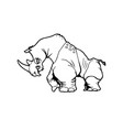 rhinoceros animal cartoon character vector image
