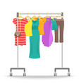 Rolling hanger rack with women clothes collection vector image vector image