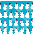 Seamless pattern cute cartoon snowmen on blue vector image vector image