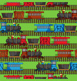 Seamless pattern with colored trains and railroad