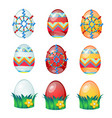 set colorful easter eggs with patterns isolated vector image