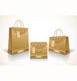 set designed kraft paper bags vector image vector image