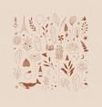 set different decorative elements beige vector image vector image