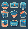 set of nine mountain travel emblems with grunge vector image