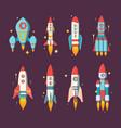 space rockets set modern star ships various vector image vector image