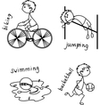 Stick Figure Playing Sport Icon Set vector image vector image
