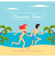 summer time banner template happy young couple vector image vector image